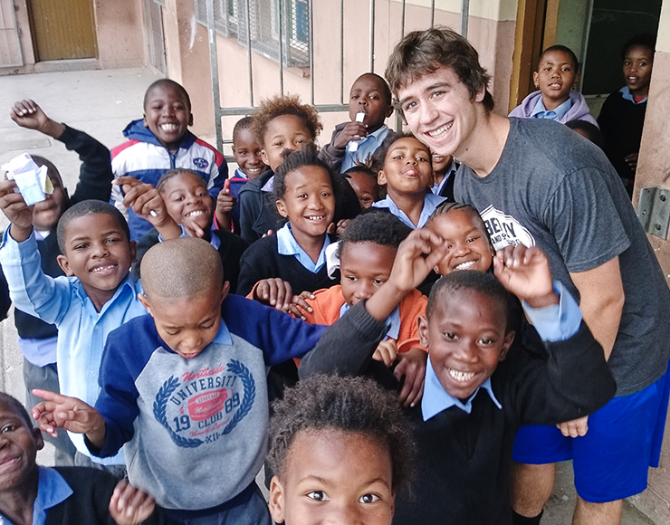 James with his class of South African kids