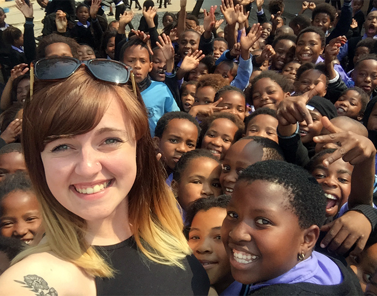 Amy with School Kids South Africa