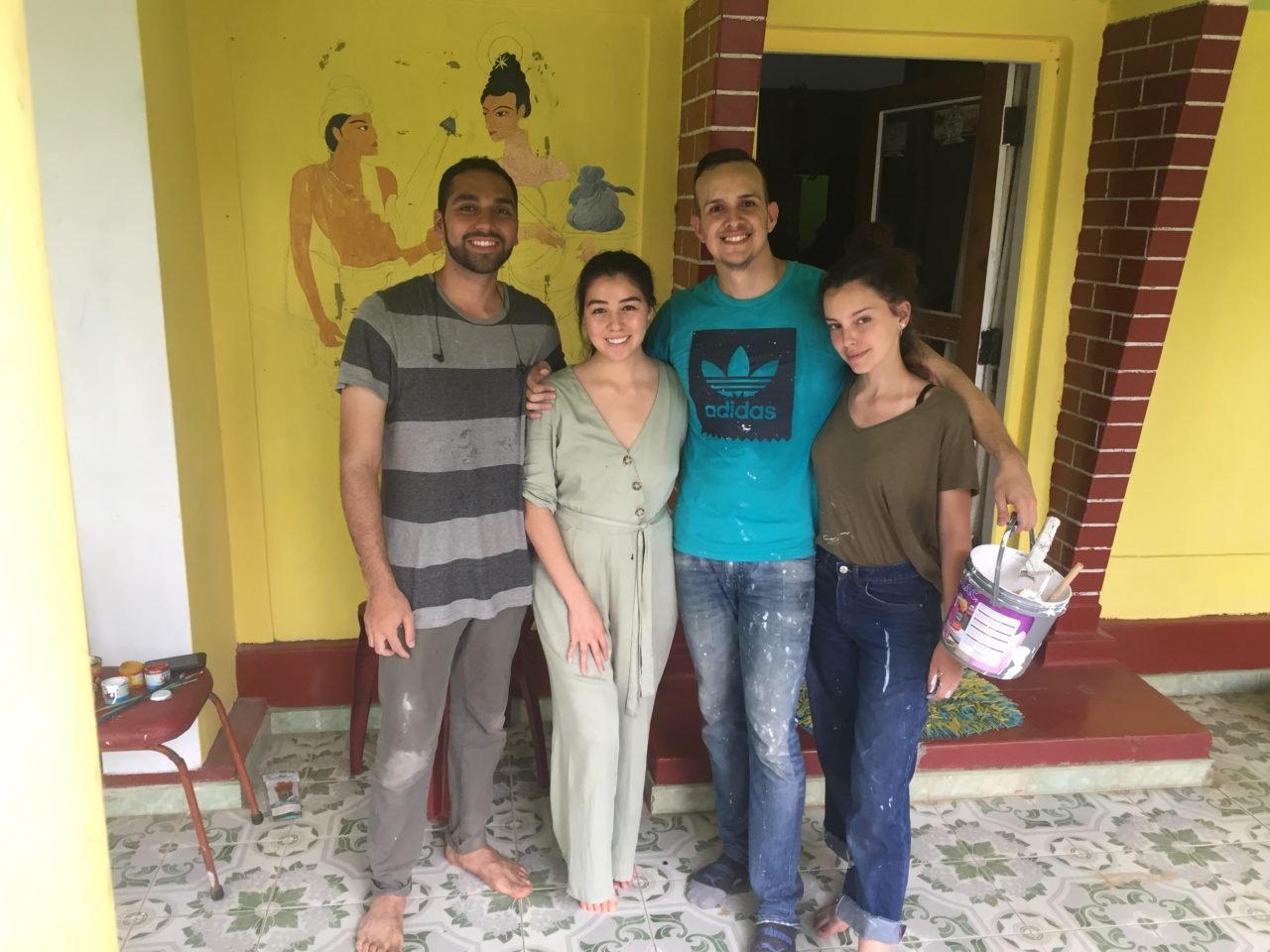 Andrés from Colombia helping paint in Sri Lanka